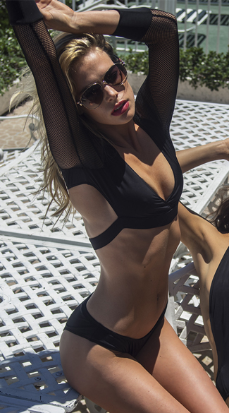 Black Long Sleeve Fishnet Bikini Long Sleeve Fishnet Swim