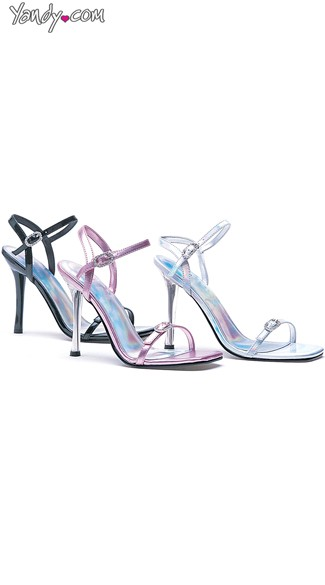 Metallic Princess Heel with Rhinestone Buckles, Cute Heels for Cheap, High Heel Sandals