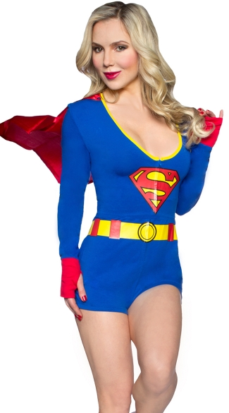 DC Comics Superman Romper with Cape, Superman Costume, Superhero Costume