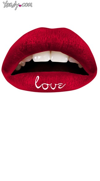 Red Love Lip Kit from Violent Lips, Red Love Print Temporary Lip Tattoo