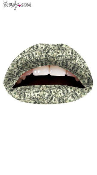 The Money Lip Kit from Violent Lips, Money Print Temporary Lip Tattoo
