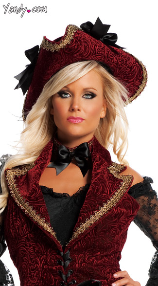 Velvet Pirate Hat, Pirate Costume Accessory, Velvet Costume Accessory, Pirate Hat, Costume Hat