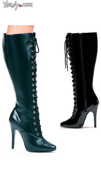 Victorian Sexy Lace Up Knee High Boot, 5 Inch Heels, Black Lace Up Boots