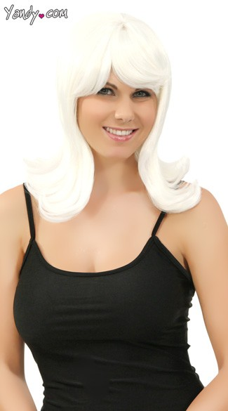 Platinum White Peggy Sue Wig, Platinum Wig, White 1950s Wig