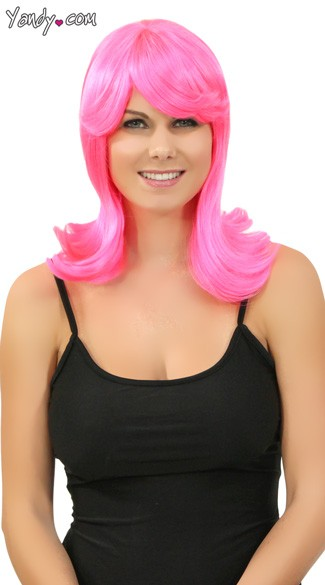 Hot Pink Peggy Sue Wig, Hot Pink Wig, Pink 50s Wig