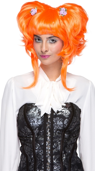 Neon Orange Yuki Updo Wig
