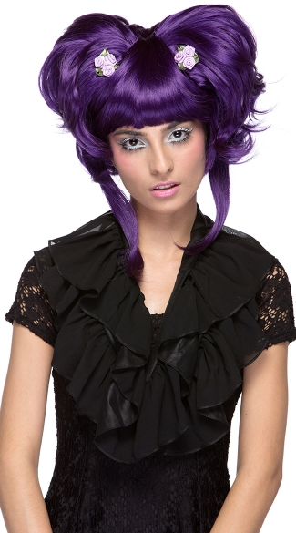 Purple Yuki Updo Wig, Neon Purple Costume Wigs, Purple Halloween Short Costume Wig