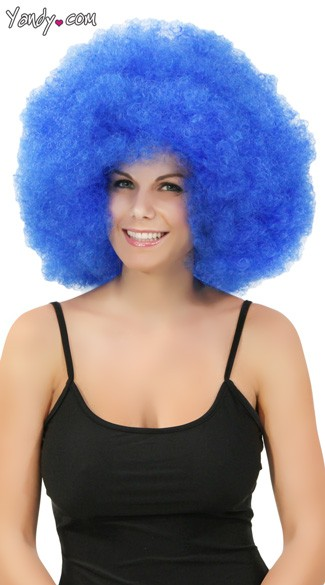 Blue Jumbo Clown Wig, Blue Afro Wig, Giant Blue Clown Wig