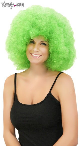 Neon Green Jumbo Clown Wig, Green Clown Wig, Green Afro Wig