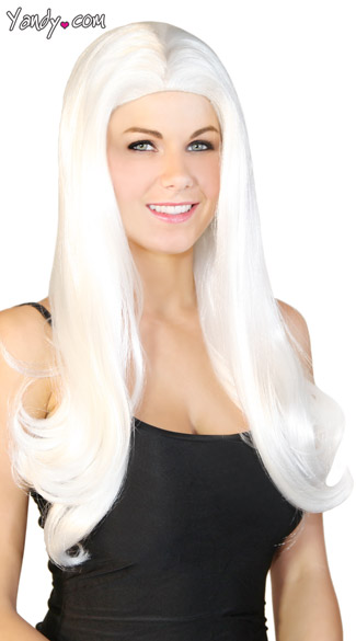 Long White Wig, Straight White Wig, White Costume Wig