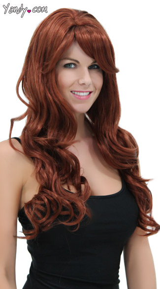 Rich Auburn Long Curly Wig
