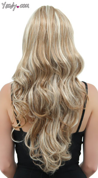 Long Curly Frosted Blonde Wig