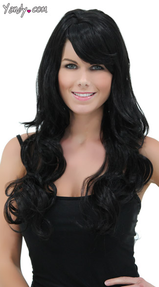 Long Curly Onyx Black Wig, Blush Broadway Onyx Wig, Long Dark Black Wig