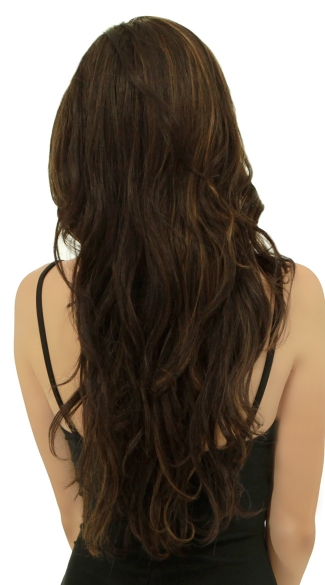 Long Light Chocolate Wavy Wig