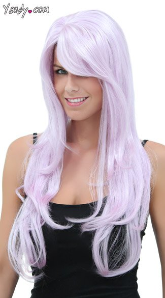 Long Wavy Lilac Wig, Blush Carmen Lilac Wig, Light Purple Wig