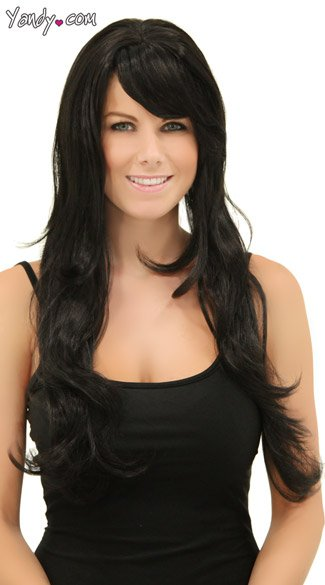 Long Black Wig with Bangs