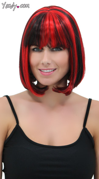 Black and Cherry Bob Wig