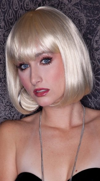 California Blonde Bob Wig, Blush Cindy Cali Blonde Wig, Short Bob with Bangs