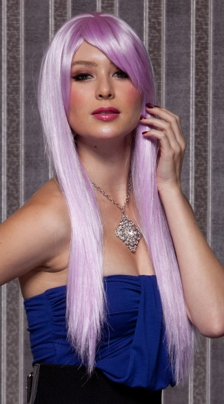 Light Purple Long Straight Wig, Blush Divine Lilac Wig, Lilac Long Straight Wig