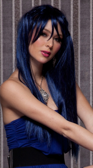 Midnight Blue Long Straight Wig, Blush Divine Midnite Blue Wig, Dark Blue Long Wig