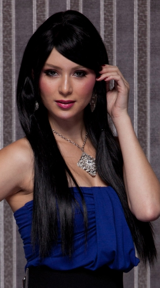 Dark Onyx Long Straight Wig, Blush Divine Onyx Wig, Long Black Wig