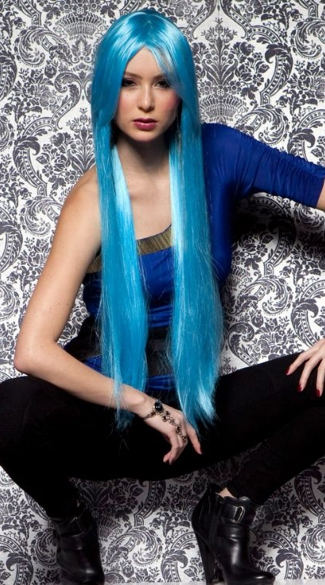 Cool Blue Extra Long Straight Wig