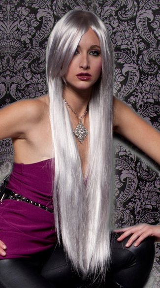 Chrome Extra Long Straight Wig, Silver Long Wig, Blush Fate Chrome Wig