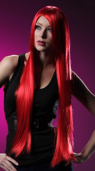 Fire Engine Red Extra Long Straight Wig, Blush Fate Firecracker Red Wig, Long Red Wig