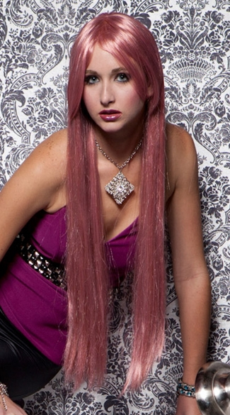 Soft Pink Extra Long Straight Wig, Blush Fate Pink Venom Wig, Soft Pink Long Wig