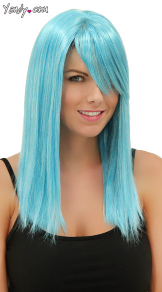 Cool Blue Straight Wig, Blush Fortune Cool Blue Wig, Blue Straight Wig