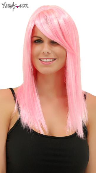 Cotton Candy Pink Straight Wig, Fortune Cotton Candy Wig, Pink Wig