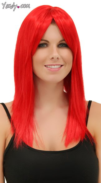 Fire Engine Red Straight Wig