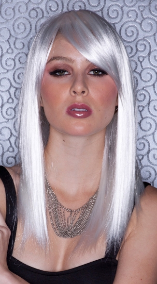 White Straight Wig, Blush Fortune Snow Wig, White Wig with Bangs