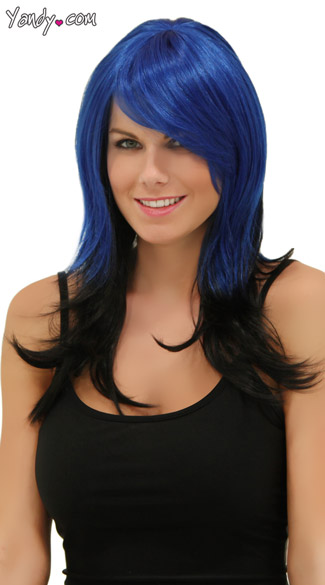 Electric Night Layered Wig, Blush Hannah Blue Nite Wig, Blue and Black Wig