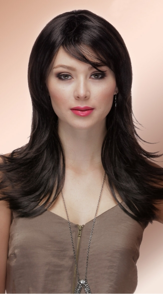 Deep Onyx Layered Wig, Blush Hannah Onyx Wig, Black Layered Wig