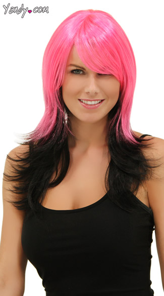 Hot Pink and Black Layered Wig, Blush Hannah Pink Nite Wig, Hot Pink Night Layered Wig