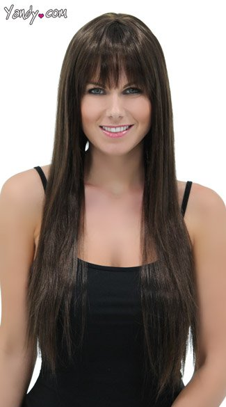Rich Chocolate Straigh Layered Wig, Blush Jewel Chocolate Wig, Dark Brown Long Wig