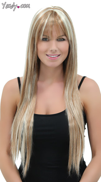 Frosted Blonde Straigh Layered Wig, Blush Jewel Frosted Blonde Wig, Long Blonde Wig