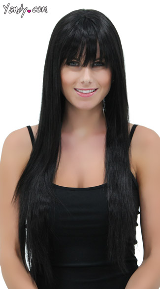 Deep Onyx Straight Layered Wig, Blush Jewel Onyx Wig, Long Black Wig