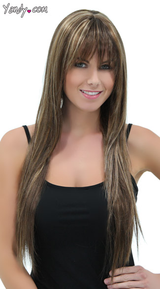 Rich Almond Straight Layered Wig, Blush Jewel Toasted Almond Wig, Brown Wig