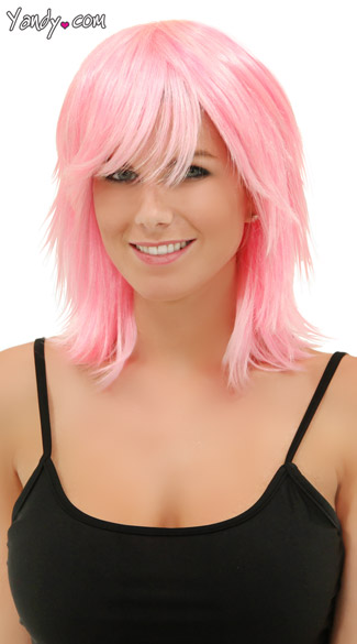 Cotton Candy Pink Rocker Layers Wig, Kharma Cotton Candy Wig, Short Pink Wig