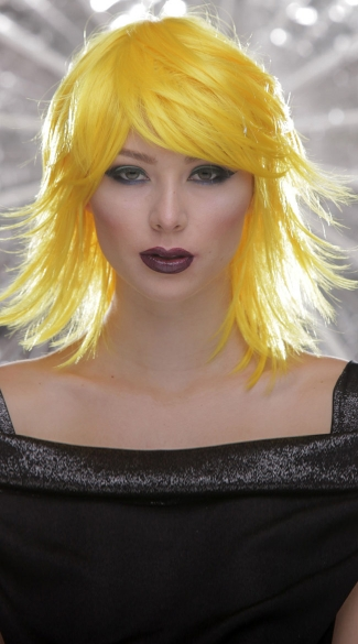 Yellow Rocker Layers Wig, Blush Kharma Sunburst Wig, Short Yellow Wig