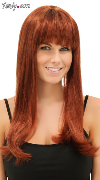 Rich Auburn Sweetheart Wig, Blush Kelly Cognac Wig, Red Brown Long Wig