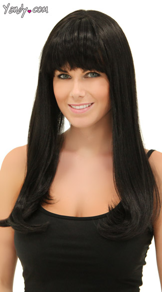 Deep Black Sweetheart Wig, Blush Kelly Onyx Wig, Long Black Wig