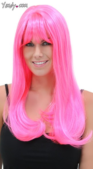 Pink Explosion Sweetheart Wig, Blush Kelly Pink Explosion Wig, Hot Pink Long Wig