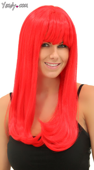 Ruby Red Sweetheart Wig, Blush kelly Red Ruby Wig, Long Red Wig