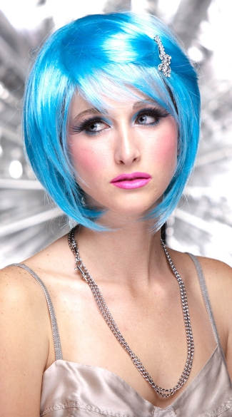 Cool Blue Short Bob Wig, Blush Mystic Cool Blue Wig, Blue Short Wig