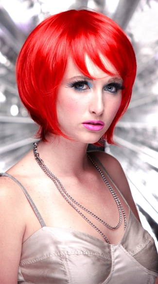 Fire Engine Red Short Bob Wig, Blush Mystic Fire Engine Red Wig, Red Short Wig
