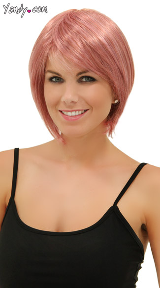 Matte Pink Short Bob Wig, Pink Black Wig, Light Pink Wig