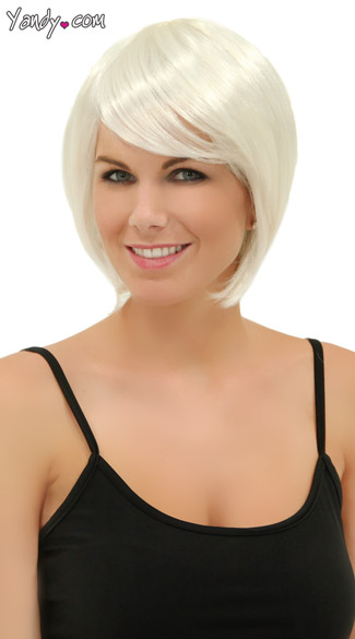 White Short Bob Wig, Blush Mystic Snow Wig, Short White Wig